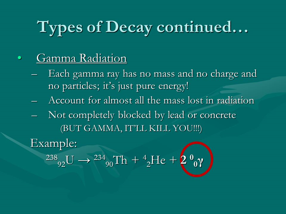 Types of Decay continued… Gamma RadiationGamma Radiation –Each gamma ray has no mass and no charge and no particles; it's just pure energy.