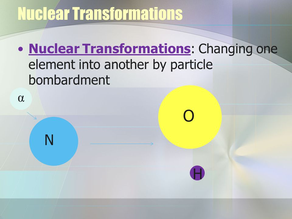 Nuclear Transformations Nuclear Transformations: Changing one element into another by particle bombardment α N O H