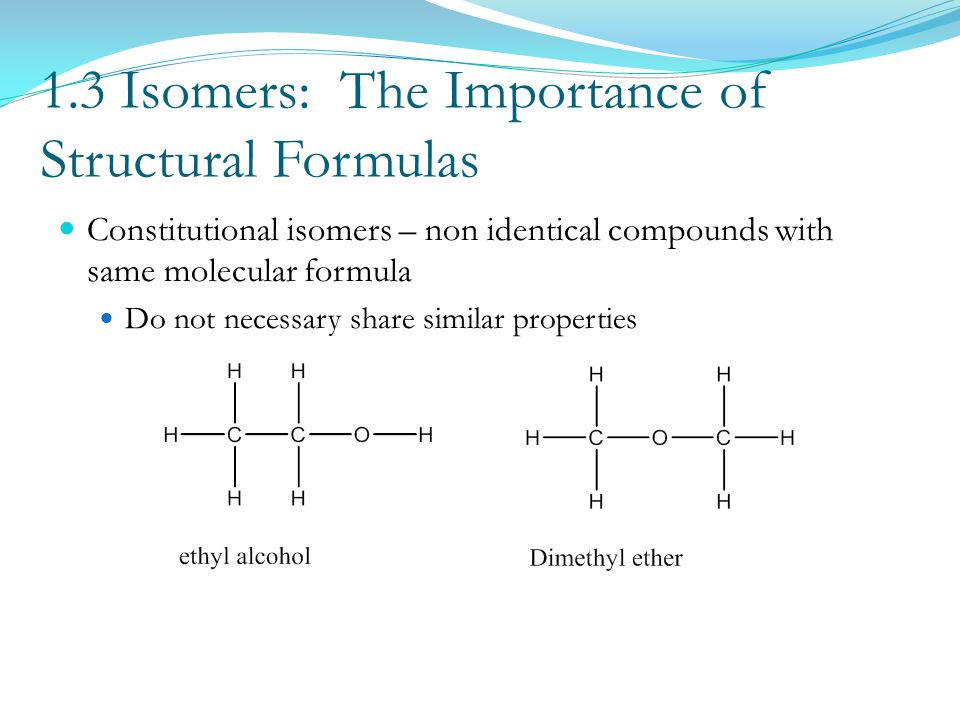 1.3 Isomers: The Importance of Structural Formulas Constitutional isomers – non identical compounds with same molecular formula Do not necessary share