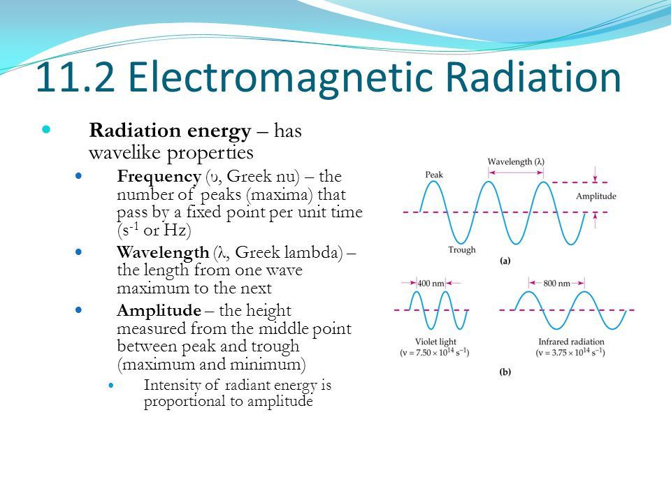 11.2 Electromagnetic Radiation Radiation energy – has wavelike properties Frequency (υ, Greek nu) – the number of peaks (maxima) that pass by a fixed