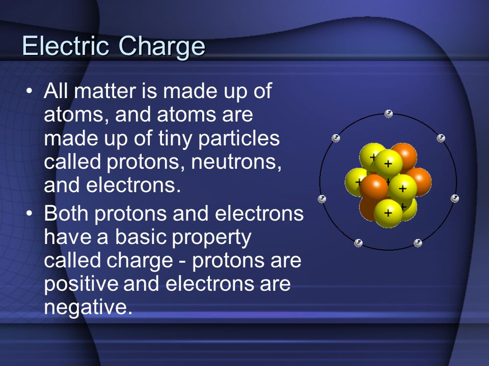Electric Charge All matter is made up of atoms, and atoms are made up of tiny particles called protons, neutrons, and electrons.