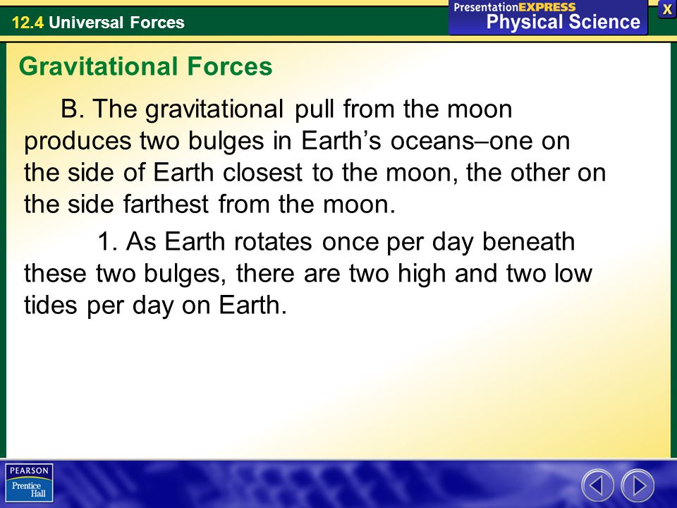 12.4 Universal Forces B. The gravitational pull from the moon produces two bulges in Earth's oceans–one on the side of Earth closest to the moon, the