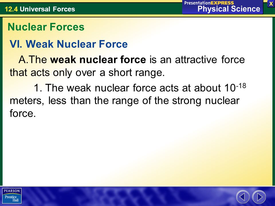 12.4 Universal Forces VI. Weak Nuclear Force A.The weak nuclear force is an attractive force that acts only over a short range. 1. The weak nuclear fo
