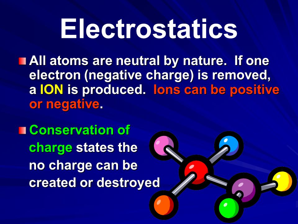 Electrostatics COULOMB'S LAW Coulomb's law is similar to Newton's law of gravity and shows how forces between two atoms attract or repel each other.
