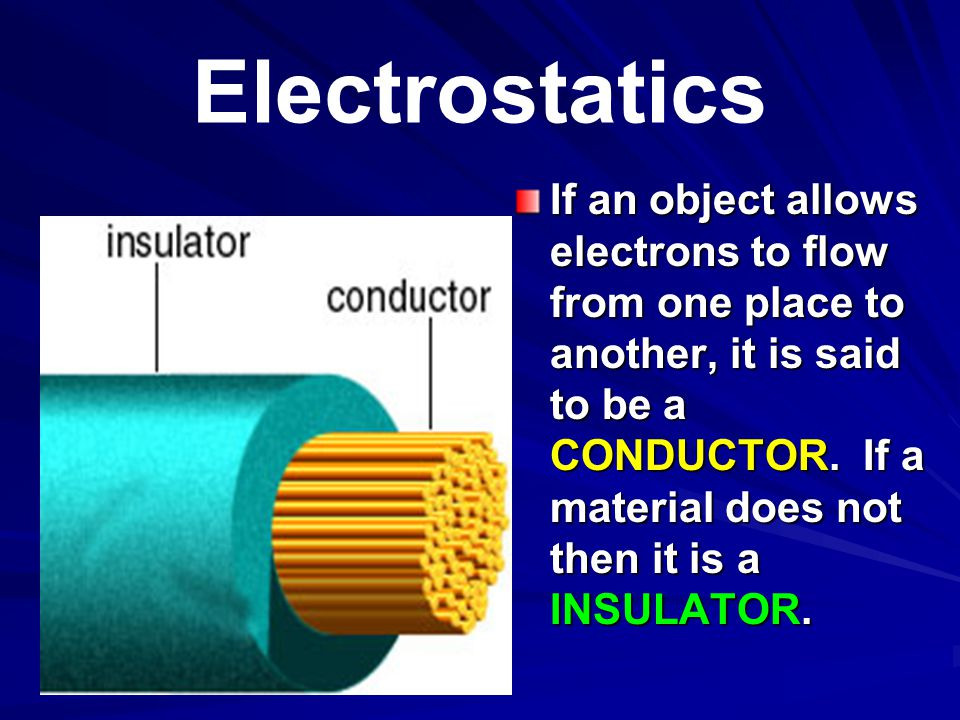 Electrostatics All substances can be arranged in order of their ability to conduct electricity.