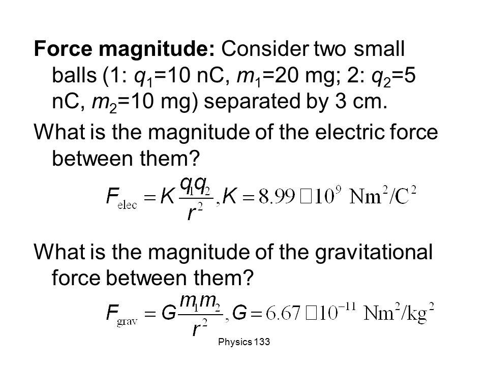 Physics 133 Force magnitude: Consider two small balls (1: q 1 =10 nC, m 1 =20 mg; 2: q 2 =5 nC, m 2 =10 mg) separated by 3 cm. What is the magnitude o