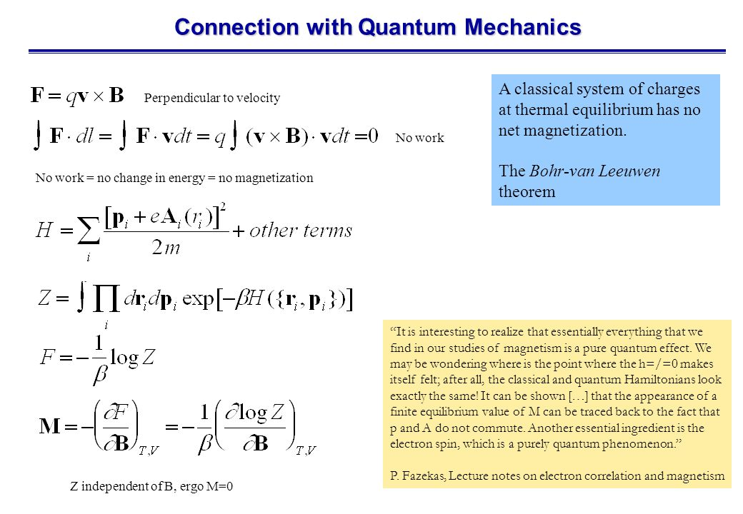 Connection with Quantum Mechanics A classical system of charges at thermal equilibrium has no net magnetization.