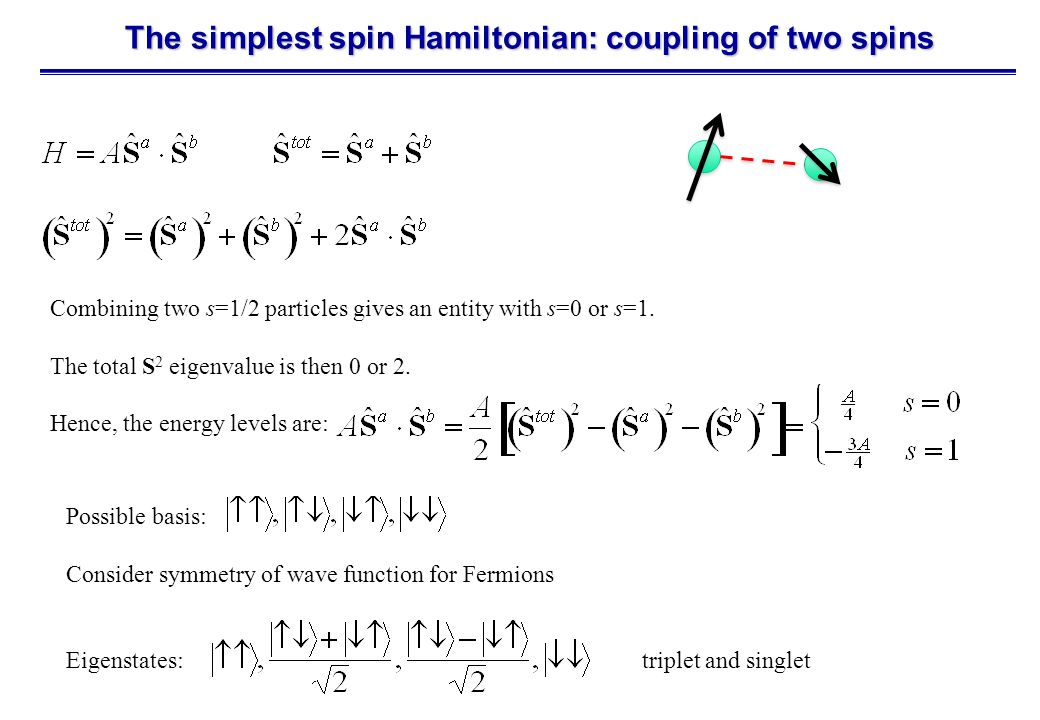 The simplest spin Hamiltonian: coupling of two spins Combining two s=1/2 particles gives an entity with s=0 or s=1.