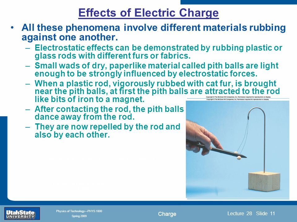 Charge Introduction Section 0 Lecture 1 Slide 11 Lecture 28 Slide 11 INTRODUCTION TO Modern Physics PHYX 2710 Fall 2004 Physics of Technology—PHYS 1800 Spring 2009 All these phenomena involve different materials rubbing against one another.