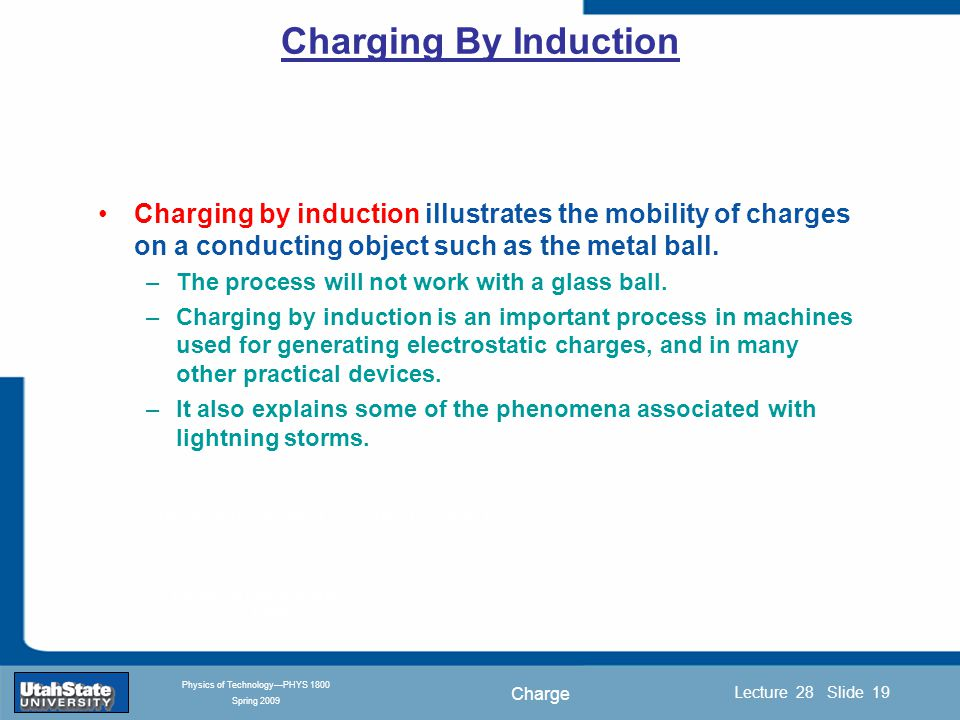 Charge Introduction Section 0 Lecture 1 Slide 19 Lecture 28 Slide 19 INTRODUCTION TO Modern Physics PHYX 2710 Fall 2004 Physics of Technology—PHYS 1800 Spring 2009 Charging by induction illustrates the mobility of charges on a conducting object such as the metal ball.