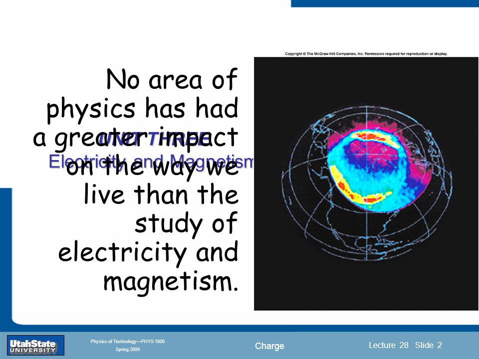 Charge Introduction Section 0 Lecture 1 Slide 2 Lecture 28 Slide 2 INTRODUCTION TO Modern Physics PHYX 2710 Fall 2004 Physics of Technology—PHYS 1800 Spring 2009 UNIT THREE Electricity and Magnetism No area of physics has had a greater impact on the way we live than the study of electricity and magnetism.