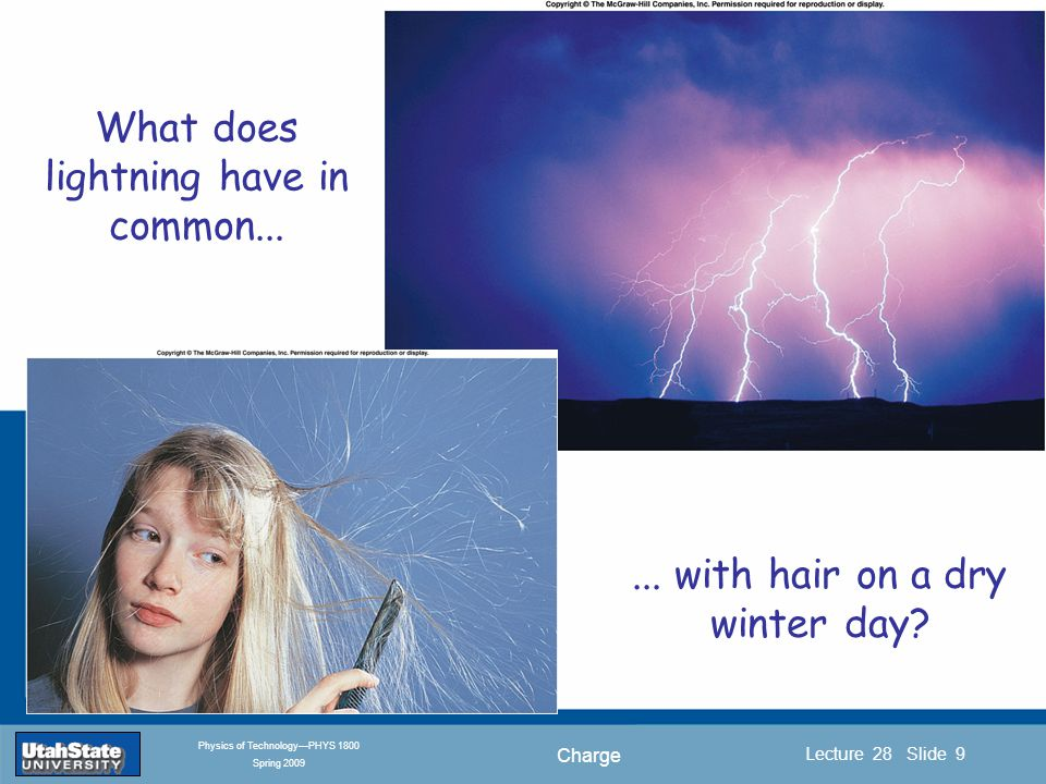 Charge Introduction Section 0 Lecture 1 Slide 9 Lecture 28 Slide 9 INTRODUCTION TO Modern Physics PHYX 2710 Fall 2004 Physics of Technology—PHYS 1800 Spring 2009 What does lightning have in common......