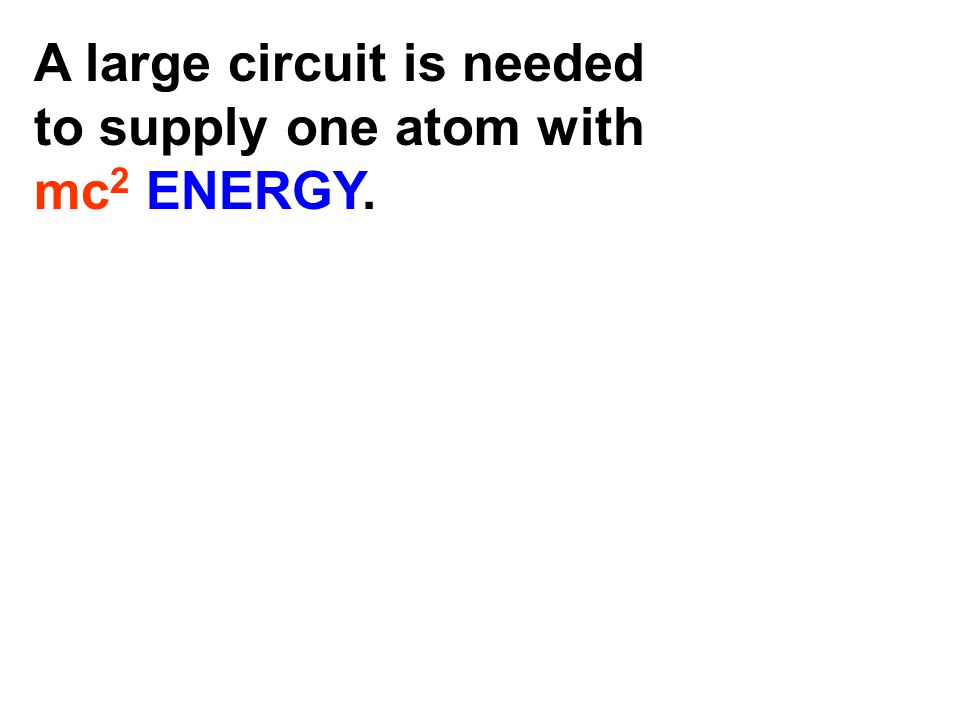 A large circuit is needed to supply one atom with mc 2 ENERGY. If our visible Universe was like a drop of water We would need a nondegrading energy so