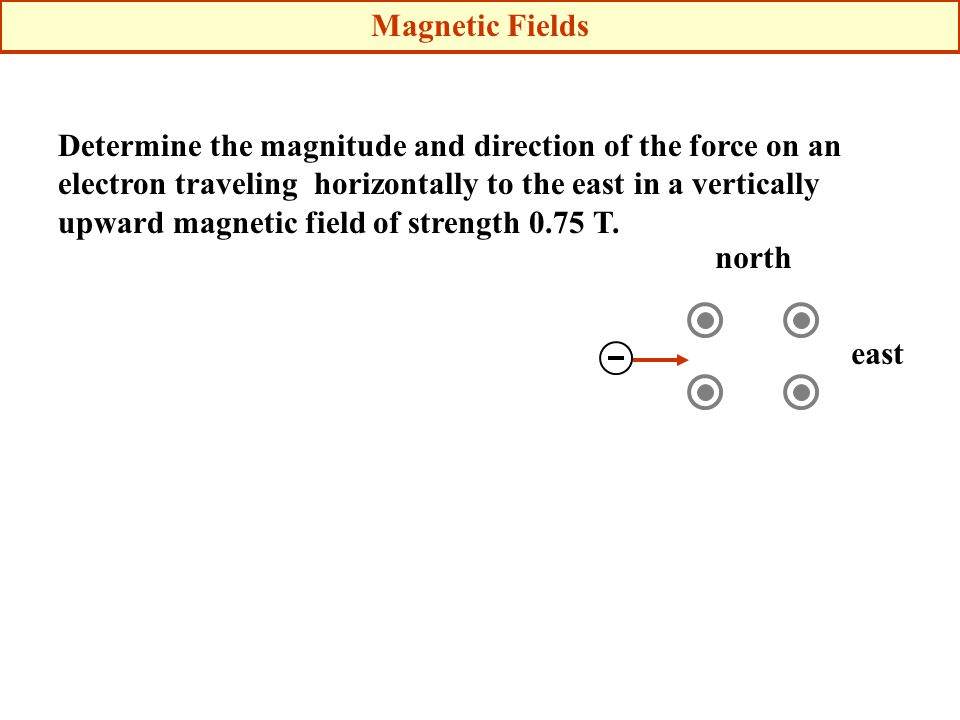 Determine the magnitude and direction of the force on an electron traveling horizontally to the east in a vertically upward magnetic field of strength 0.75 T.