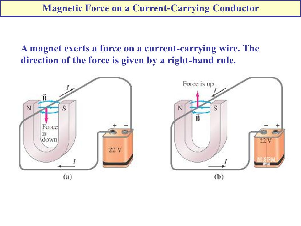 A magnet exerts a force on a current-carrying wire.