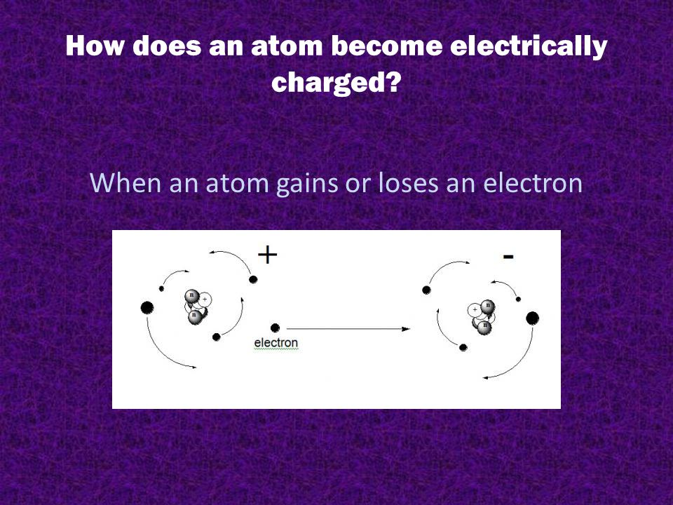 How does an atom become electrically charged? When an atom gains or loses an electron