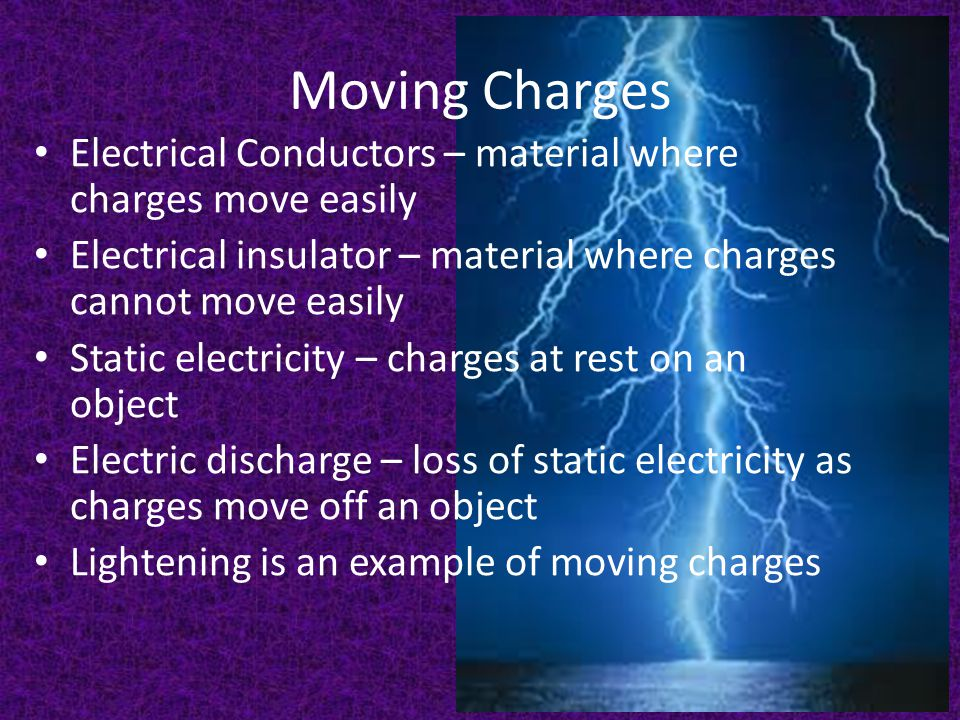 Moving Charges Electrical Conductors – material where charges move easily Electrical insulator – material where charges cannot move easily Static elec