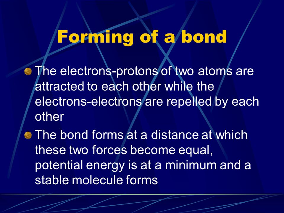 Forming of a bond The electrons-protons of two atoms are attracted to each other while the electrons-electrons are repelled by each other The bond for