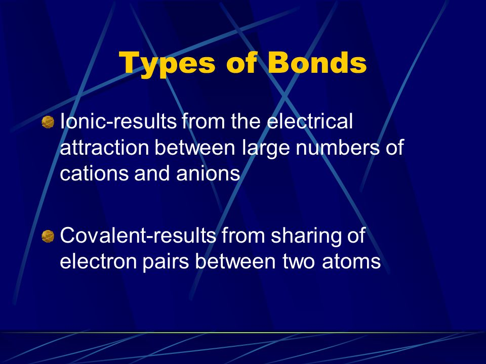Types of Bonds Ionic-results from the electrical attraction between large numbers of cations and anions Covalent-results from sharing of electron pair