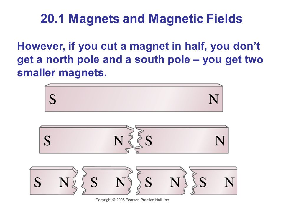 20.1 Magnets and Magnetic Fields However, if you cut a magnet in half, you don't get a north pole and a south pole – you get two smaller magnets.