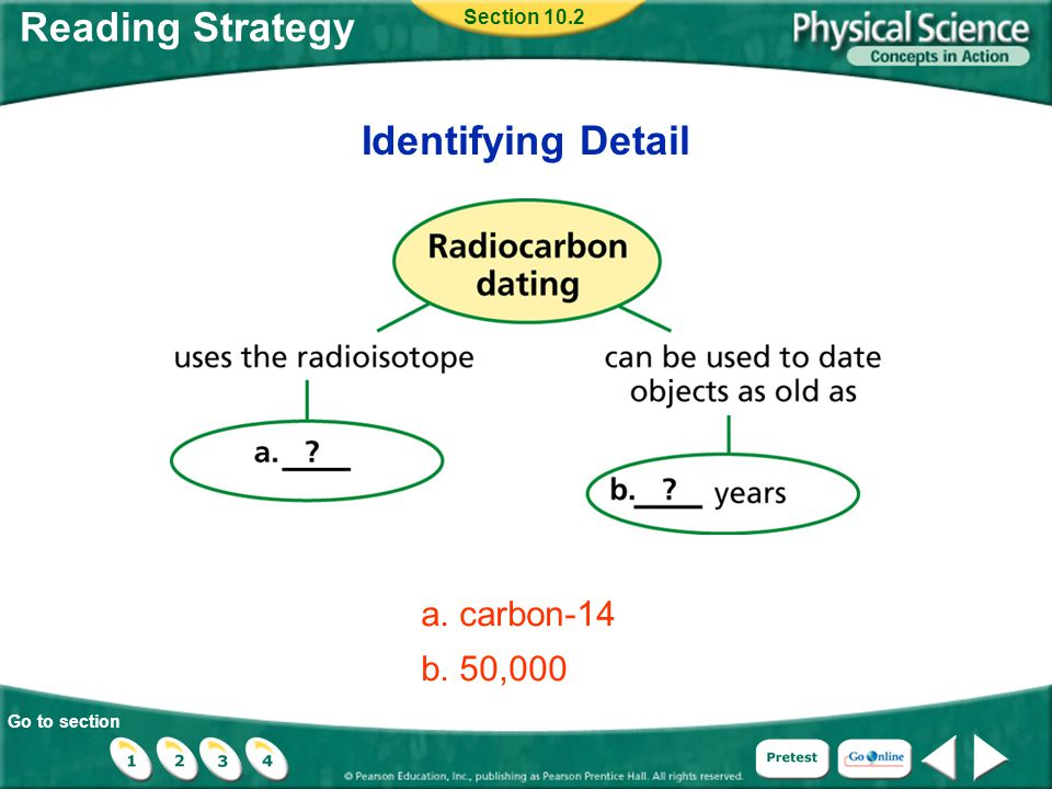 Go to section Reading Strategy Identifying Detail Section 10.2 a. carbon-14 b. 50,000