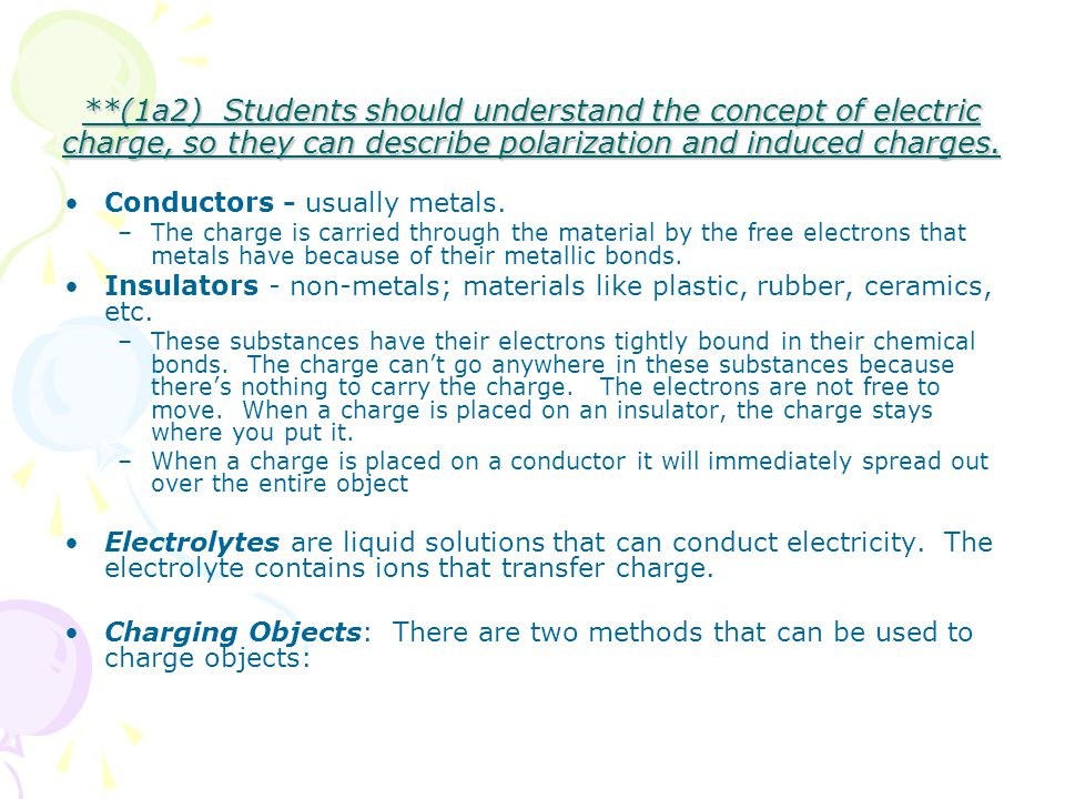 **(1a2) Students should understand the concept of electric charge, so they can describe polarization and induced charges. Conductors - usually metals.