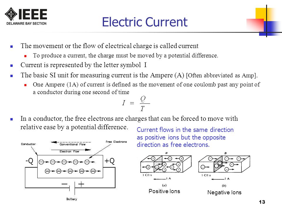 13 Electric Current The movement or the flow of electrical charge is called current To produce a current, the charge must be moved by a potential difference.