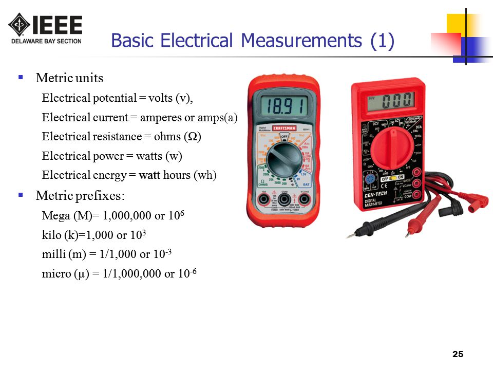 25 Basic Electrical Measurements (1)  Metric units Electrical potential = volts (v), Electrical current = amperes or amps(a) Electrical resistance = ohms (Ω) Electrical power = watts (w) Electrical energy = watt hours (wh)  Metric prefixes: Mega (M)= 1,000,000 or 10 6 kilo (k)=1,000 or 10 3 milli (m) = 1/1,000 or 10 -3 micro (µ) = 1/1,000,000 or 10 -6  Metric units Electrical potential = volts (v), Electrical current = amperes or amps(a) Electrical resistance = ohms (Ω) Electrical power = watts (w) Electrical energy = watt hours (wh)  Metric prefixes: Mega (M)= 1,000,000 or 10 6 kilo (k)=1,000 or 10 3 milli (m) = 1/1,000 or 10 -3 micro (µ) = 1/1,000,000 or 10 -6