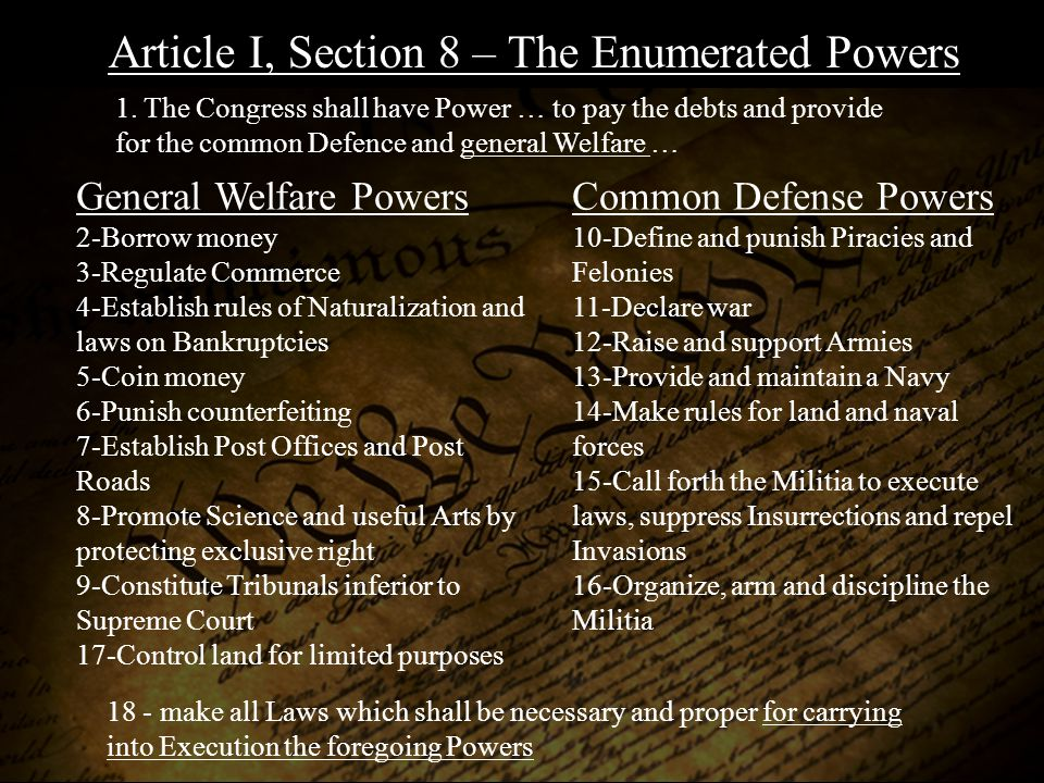 Article I, Section 8 – The Enumerated Powers General Welfare Powers 2-Borrow money 3-Regulate Commerce 4-Establish rules of Naturalization and laws on Bankruptcies 5-Coin money 6-Punish counterfeiting 7-Establish Post Offices and Post Roads 8-Promote Science and useful Arts by protecting exclusive right 9-Constitute Tribunals inferior to Supreme Court 17-Control land for limited purposes Common Defense Powers 10-Define and punish Piracies and Felonies 11-Declare war 12-Raise and support Armies 13-Provide and maintain a Navy 14-Make rules for land and naval forces 15-Call forth the Militia to execute laws, suppress Insurrections and repel Invasions 16-Organize, arm and discipline the Militia 1.