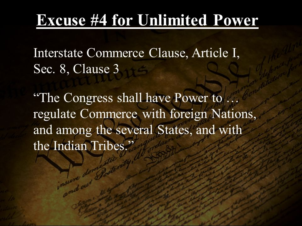 Interstate Commerce Clause, Article I, Sec.