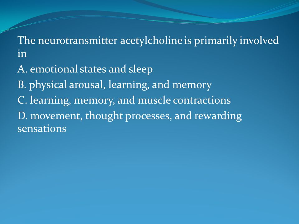 The neurotransmitter acetylcholine is primarily involved in A.