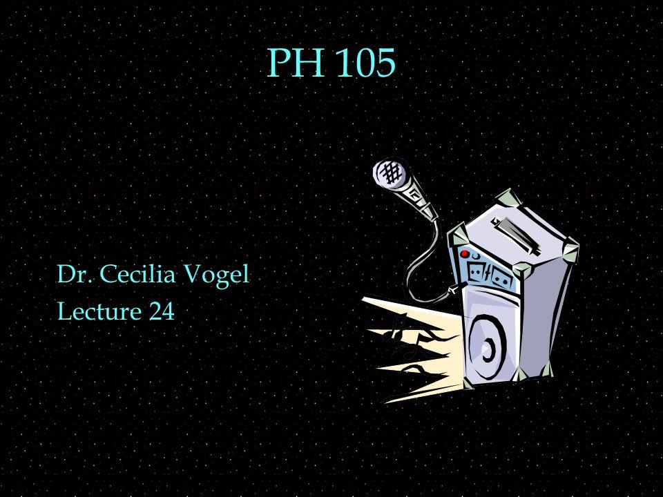 PH 105 Dr. Cecilia Vogel Lecture 24