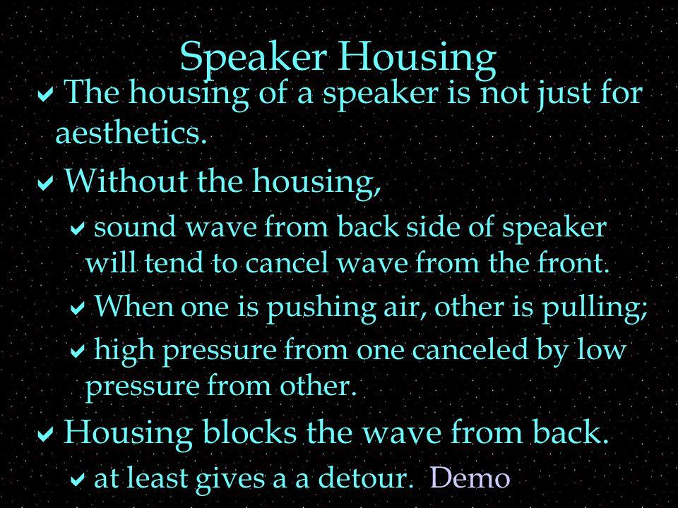 Speaker Housing  The housing of a speaker is not just for aesthetics.