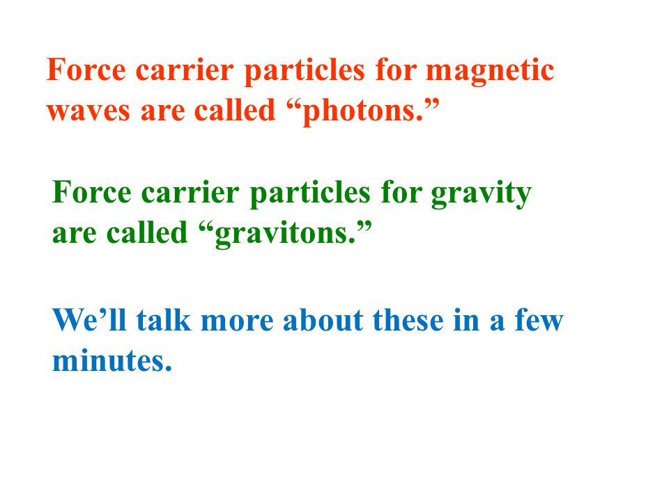 (1) Force Carrier Particles: Each type of fundamental force is carried by a force-carrier particle.