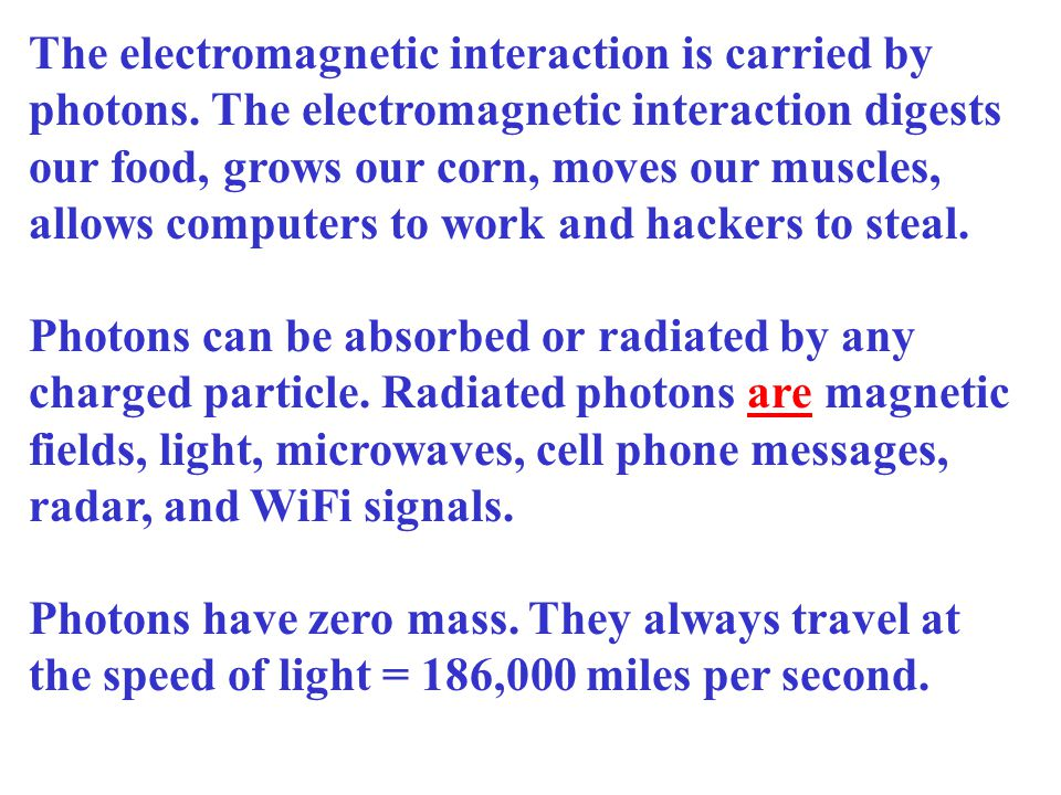 The carrier particle of the electromagnetic force is the photon.