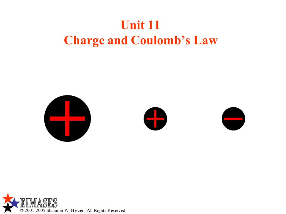 © 2001-2005 Shannon W. Helzer. All Rights Reserved. Unit 11 Charge and Coulomb's Law