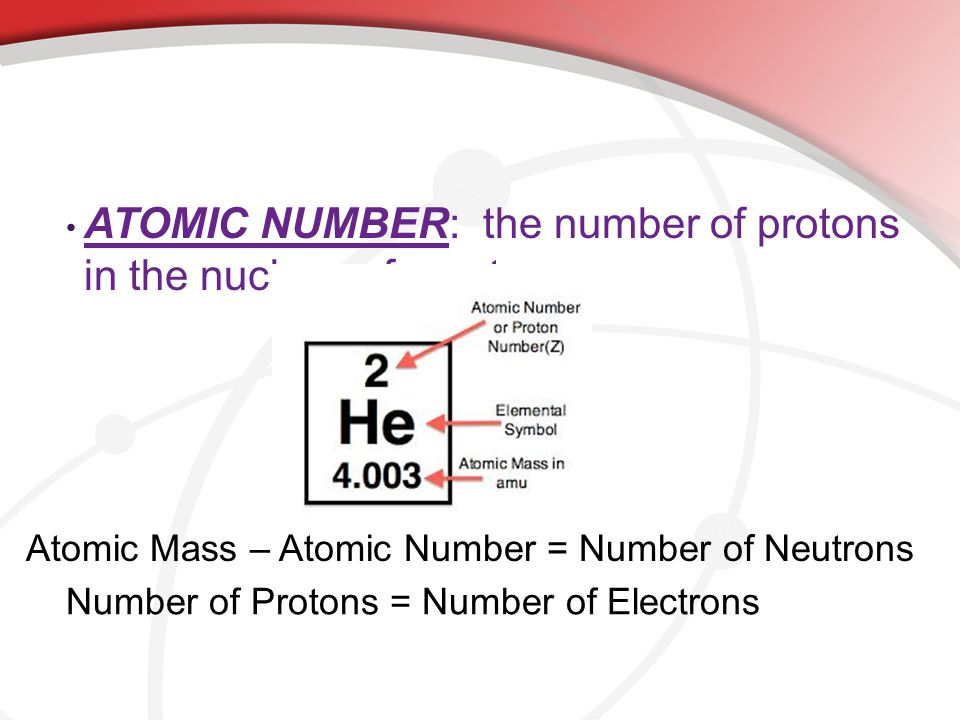 ATOMIC NUMBER: the number of protons in the nucleus of an atom.