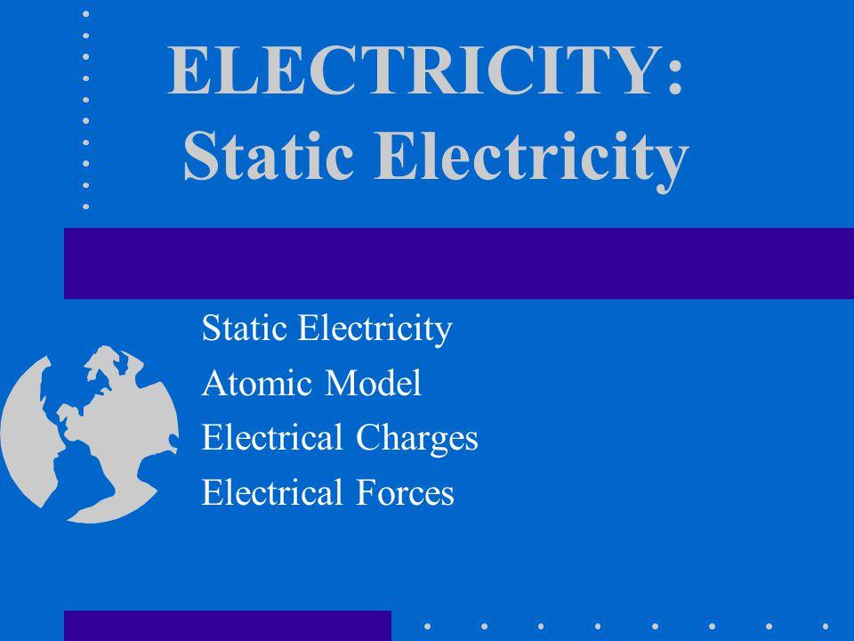 ELECTRICITY: Static Electricity Static Electricity Atomic Model Electrical Charges Electrical Forces