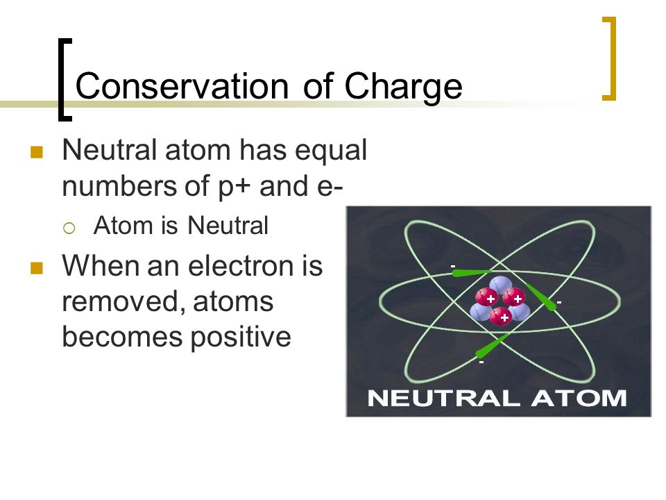 Conservation of Charge Neutral atom has equal numbers of p+ and e-  Atom is Neutral When an electron is removed, atoms becomes positive