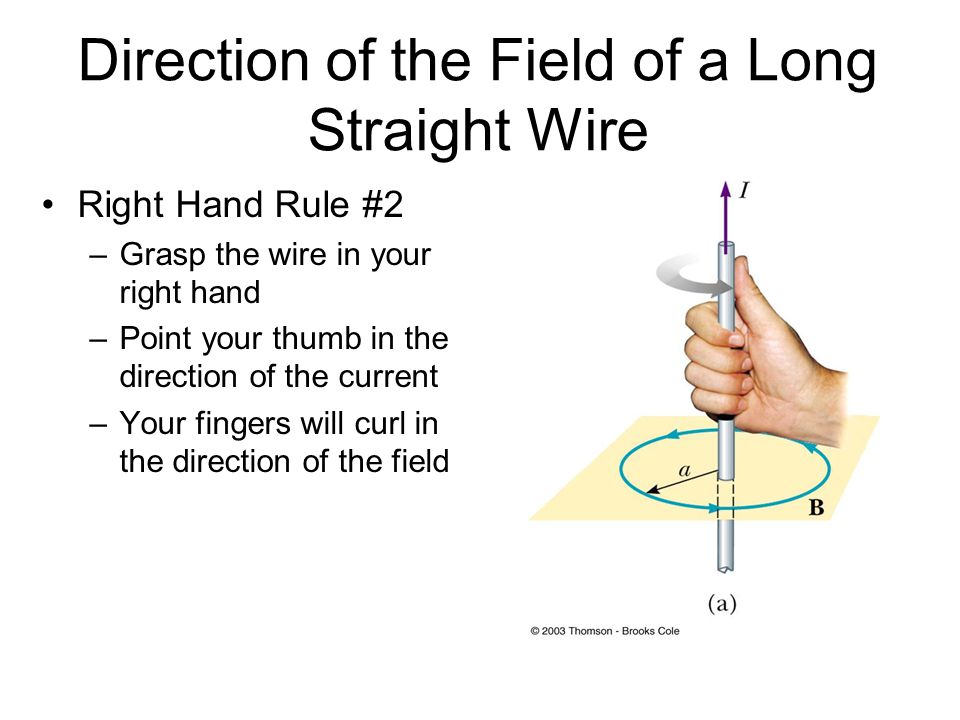 Direction of the Field of a Long Straight Wire Right Hand Rule #2 –Grasp the wire in your right hand –Point your thumb in the direction of the current