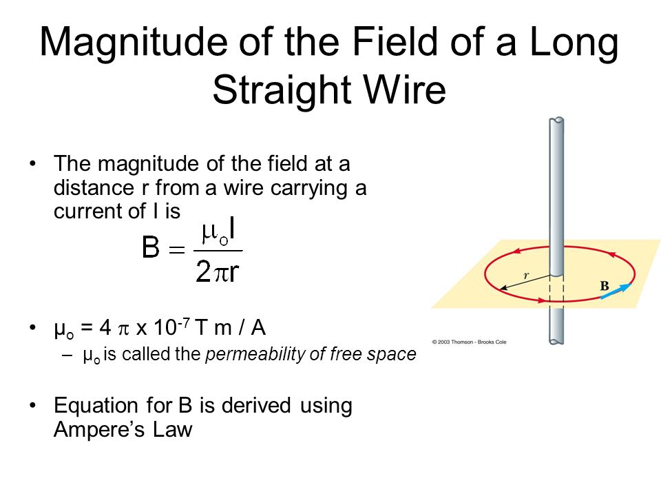 Magnetic Force Between Two Parallel Conductors The force on wire 1 is due to the current in wire 1 and the magnetic field produced by wire 2 The force per unit length is: