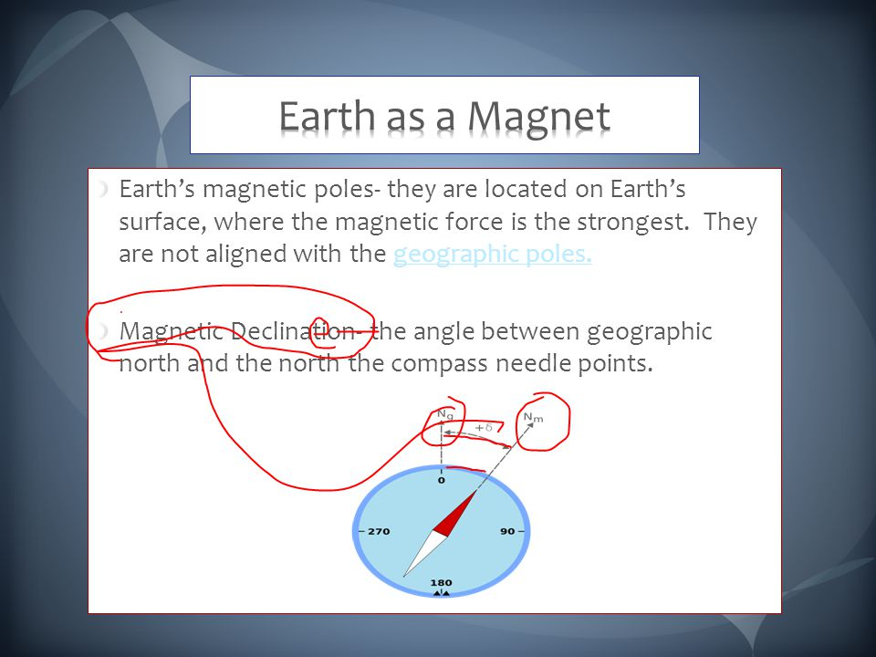 Earth's magnetic poles- they are located on Earth's surface, where the magnetic force is the strongest.