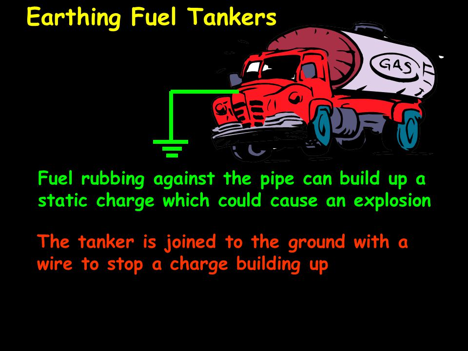 Earthing Fuel Tankers Fuel rubbing against the pipe can build up a static charge which could cause an explosion The tanker is joined to the ground with a wire to stop a charge building up