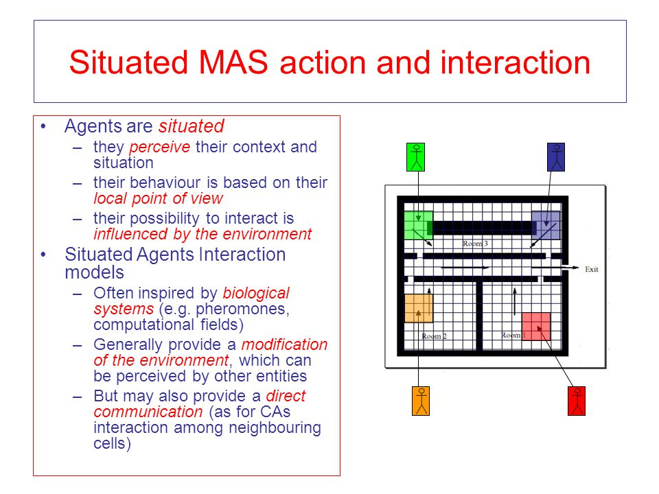 Situated MAS action and interaction Agents are situated –they perceive their context and situation –their behaviour is based on their local point of v