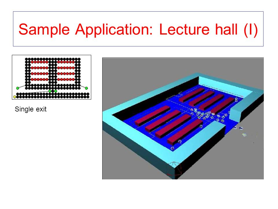 Sample Application: Lecture hall (I) Single exit