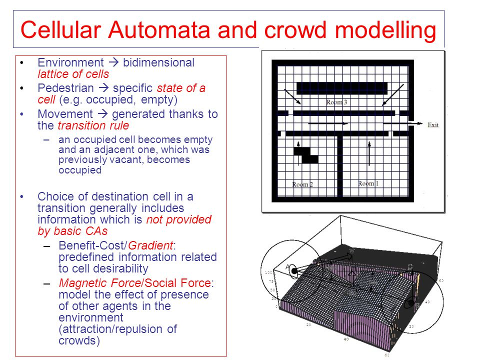 Cellular Automata and crowd modelling Environment  bidimensional lattice of cells Pedestrian  specific state of a cell (e.g. occupied, empty) Moveme