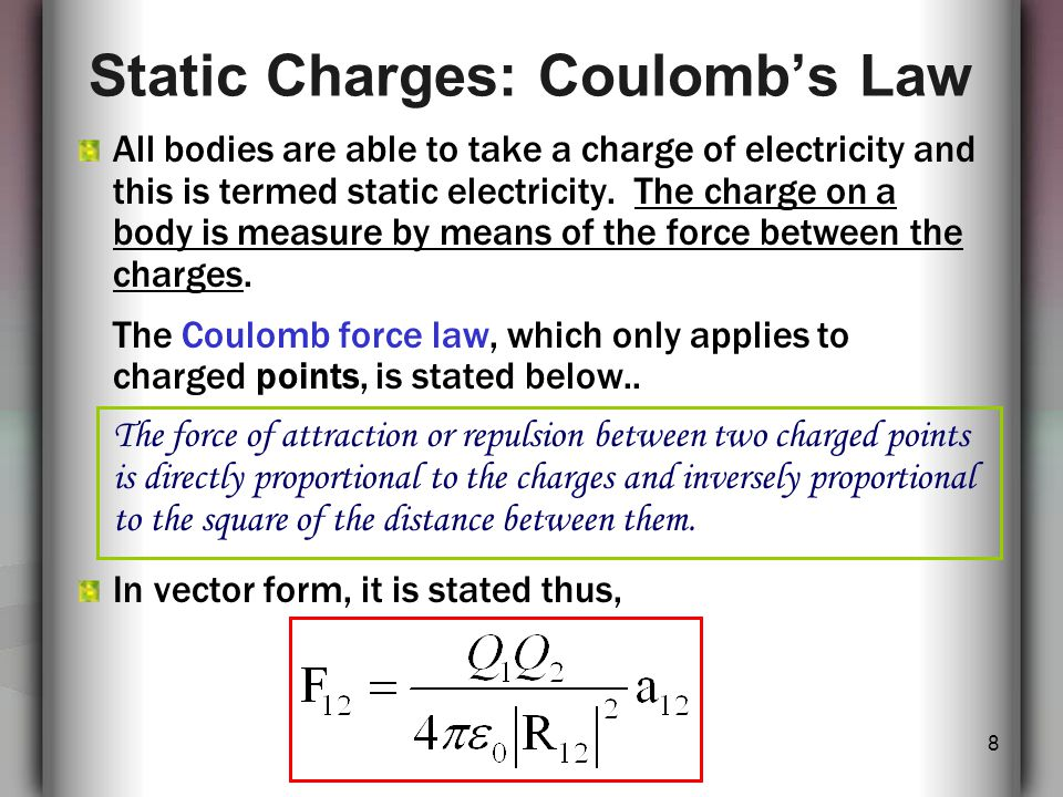 9 Coulomb's Law Where; F = Force between points (N) Q 1, Q 2 = Charges on point 1 and point 2 (Coulomb) R = radial separation on points/distance (m) = Permittivity of the free space (vacuum) with a value given by: = the unit vector in the direction from Q 1 to Q 2