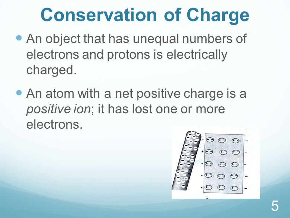 Conservation of Charge An object that has unequal numbers of electrons and protons is electrically charged.