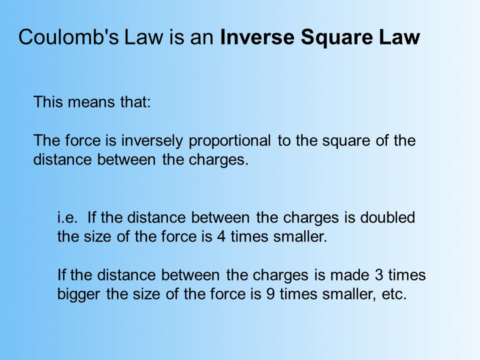 This means that: The force is inversely proportional to the square of the distance between the charges. i.e. If the distance between the charges is do