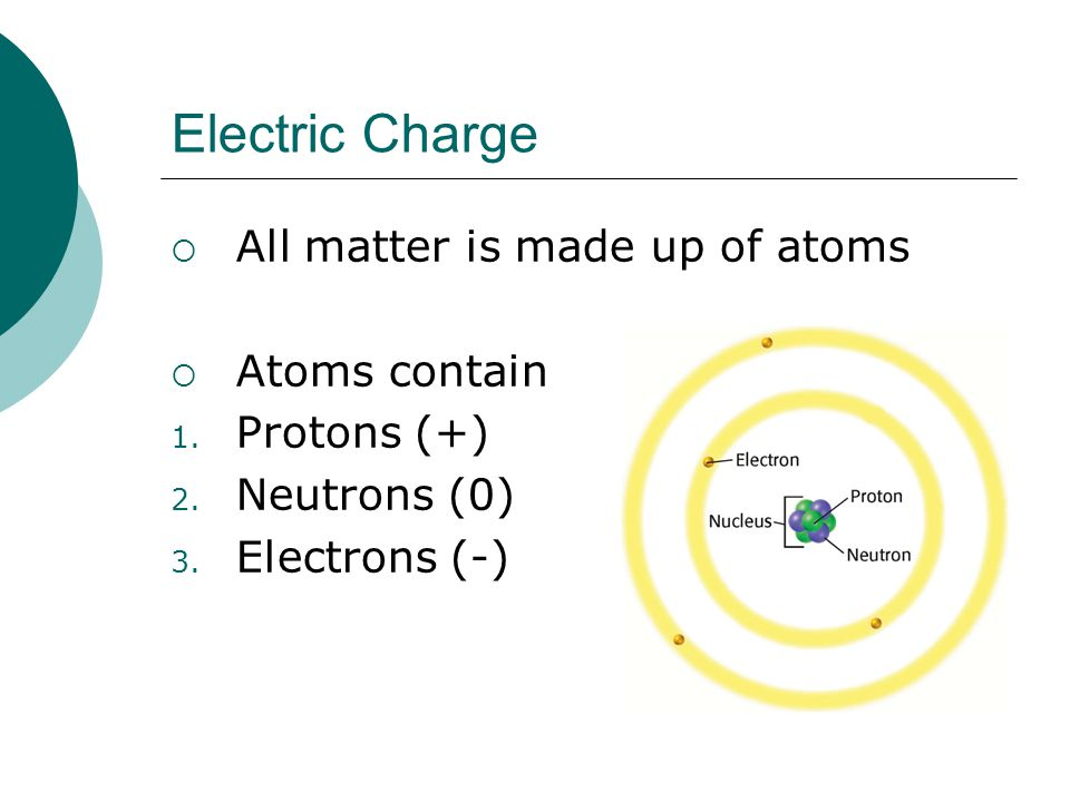 Electric Charge  All matter is made up of atoms  Atoms contain 1.